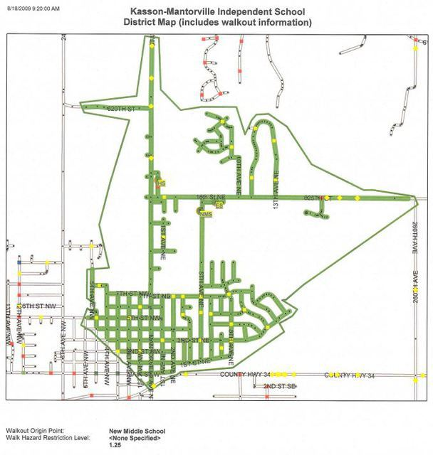 Image of Middle School Walk map - click on the link above to view the PDF file