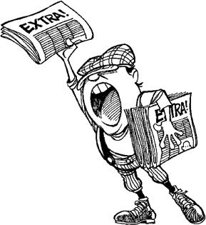"Clipart image of a boy hawking the newspaper, shouting ""Extra!"""