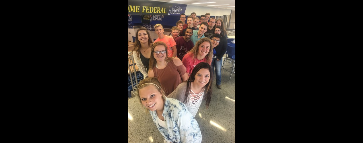 Photograph of students in Mr. Bernards Advisory after Cleaning up the Commons